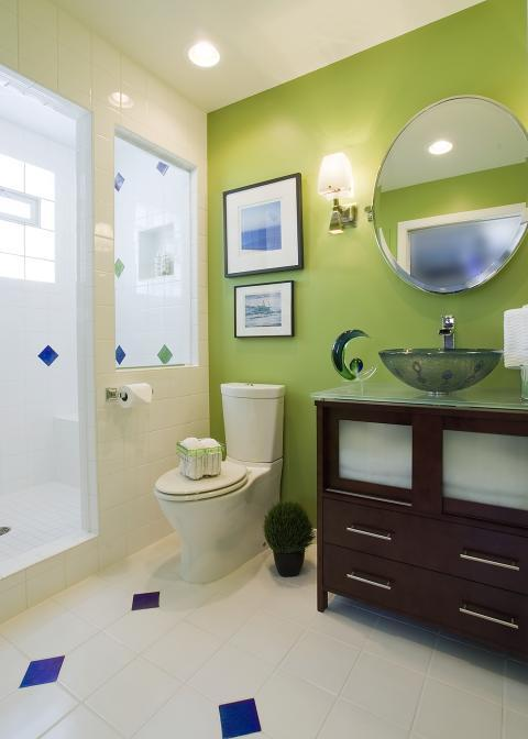 Transitional Bathroom with silver vanity sconce lighting with white shade
