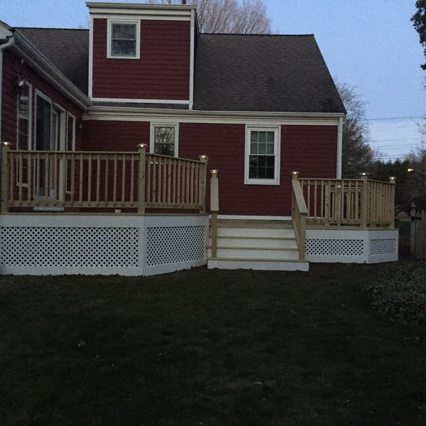 Traditional Deck in Milford wood railing wood deck and