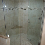 Transitional Bathroom with frameless clear glass shower enclosure