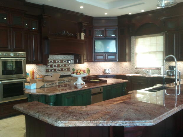 Kitchen In Fort Lauderdale Wood Range Hood Dishwasher In Island By Bluewater Construction