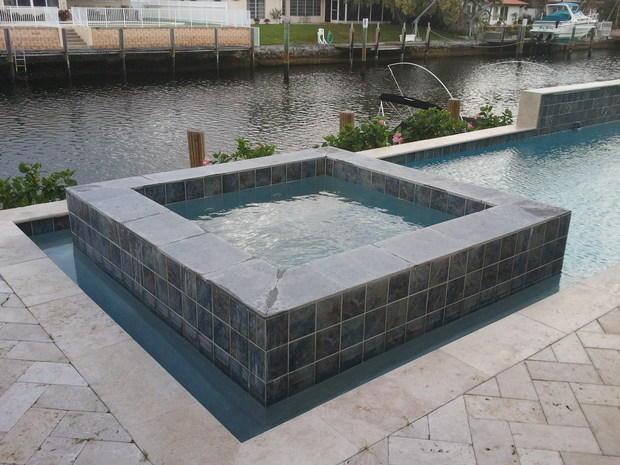 Transitional pool in fort lauderdale herringbone brick for Pool design fort lauderdale