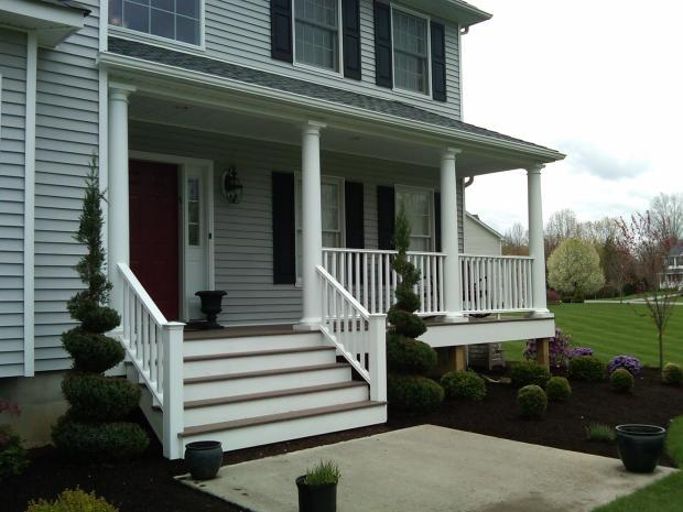 traditional porch in newburgh black shutters by wahl