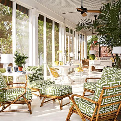 Transitional Sunroom with white patio table with matching chairs