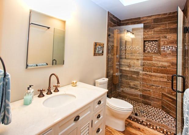 transitional bathroom with antique brass sink faucet - Small Bathroom Renovation