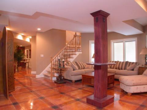 Traditional Family Room with dark wood covered support column