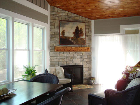 Transitional Sunroom with wood panel ceiling