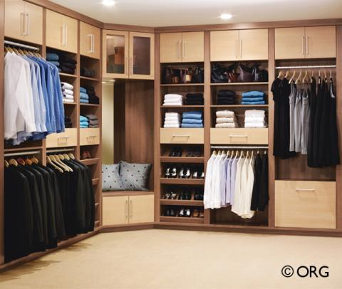 Add To Contemporary Closet With Light Wood Cabinet Doors