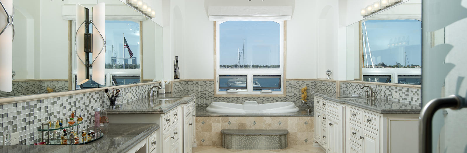 Cape Cod Bathroom with jacuzzi tub with tile surround