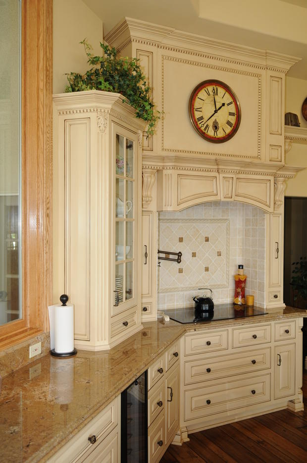 English Country Kitchen In La Habra Off White Painted Cabinets Custom Wood Stove Hood By