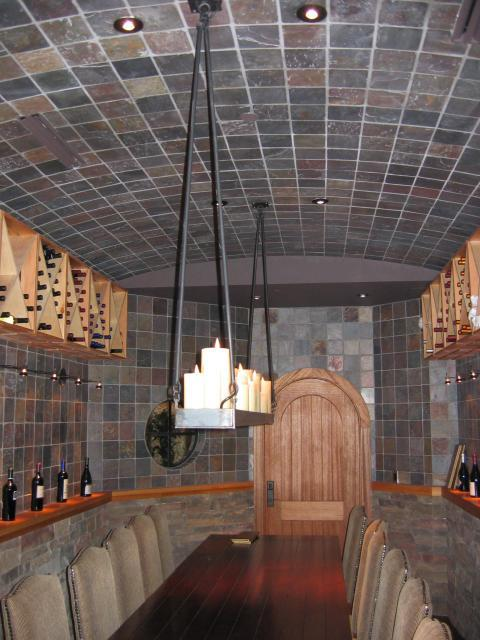 Traditional Wine Cellar with light wood wine shelves