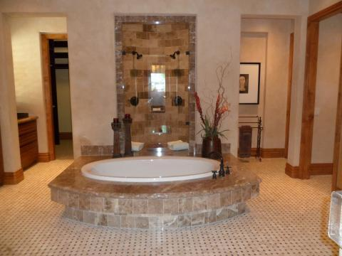Contemporary Master Bathroom with oil rubbed bronze fixtures
