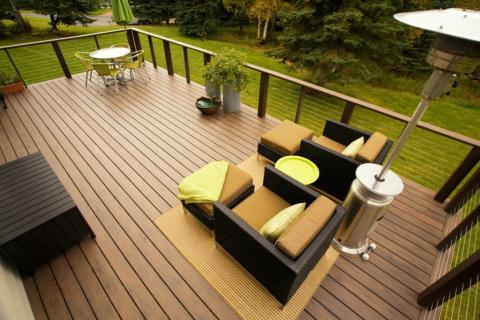 Contemporary Patio with horizontal railing