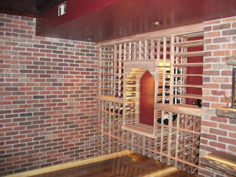Traditional Wine Cellar with built in wine storage wall