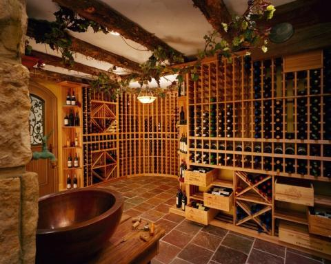 Tuscan Wine Cellar with silk vines hanging from ceiling