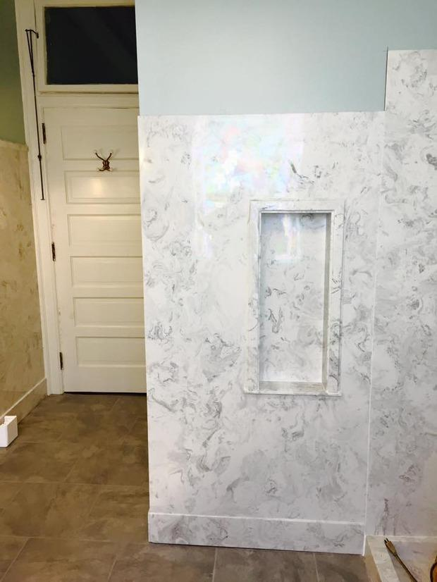 Cape Cod Bathroom In Mobile Marble Wall Tile Flooring