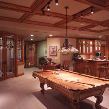 Traditional Basement with beautiful glass designs on doors and cabinets