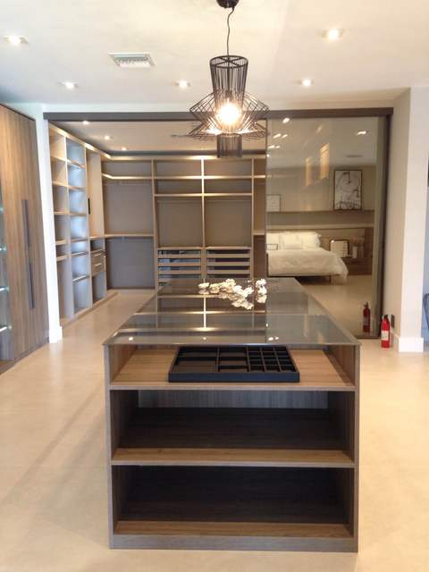 Modern Closet with glass topped jewelry cabinet