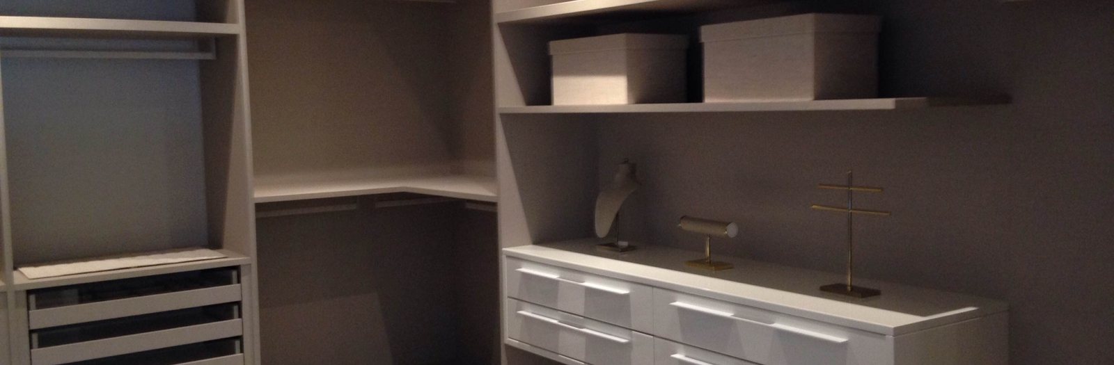 Modern Closet with grey painted walls