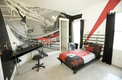 Contemporary Kids Room with red black and white bed spread