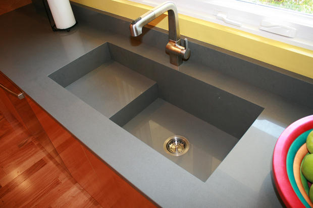 Modern Kitchen In Longwood Solid Surface Integrated Sink
