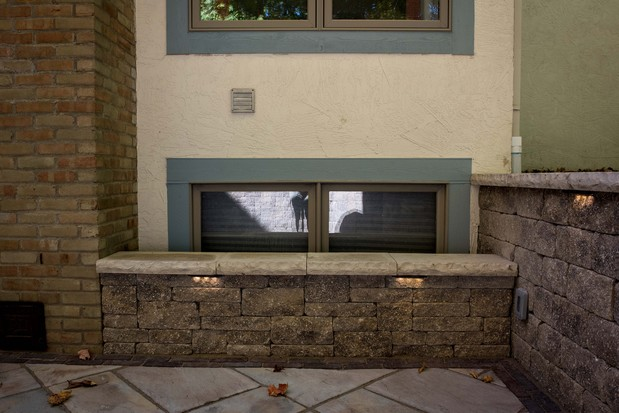 Casual Comfortable Patio In Dublin Low Bench Blue Trim By Landscapes By Terra Inc