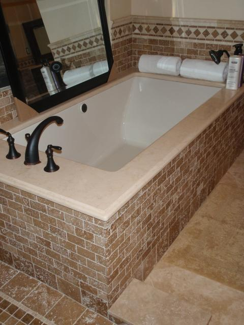Traditional Master Bathroom with diamond tile accent border