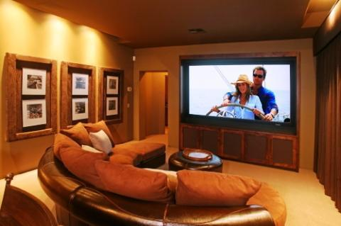 Transitional Home Theater with white cut pile wall to wall carpet