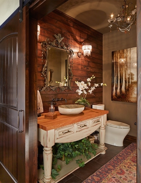 Eclectic Bathroom with crystal chandelier sconce lights