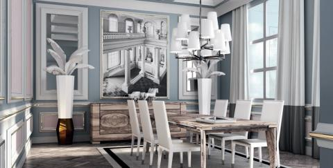 Add To Transitional Dining Room With Large Silver Hanging Chandelier White Shades