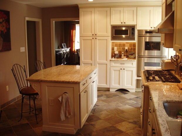 french country kitchen in philadelphia brown tile backsplash warm