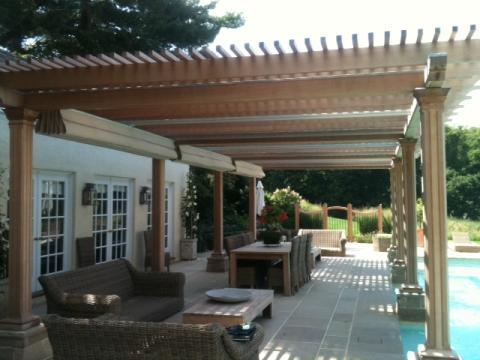 Traditional Patio with outdoor lantern style sconce lighting