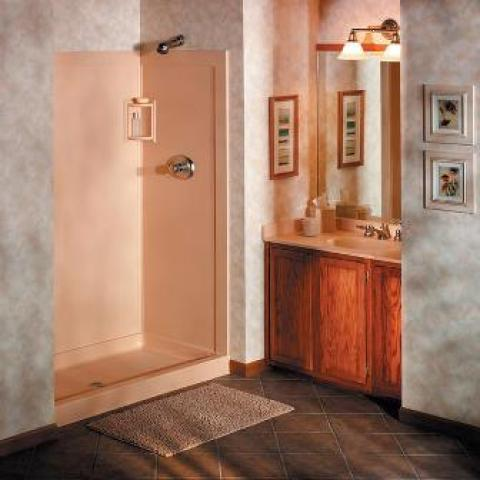 Traditional Bathroom with beige fiberglass shower