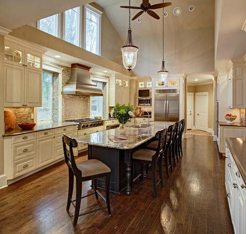 Transitional Kitchen with island with furniture style legs