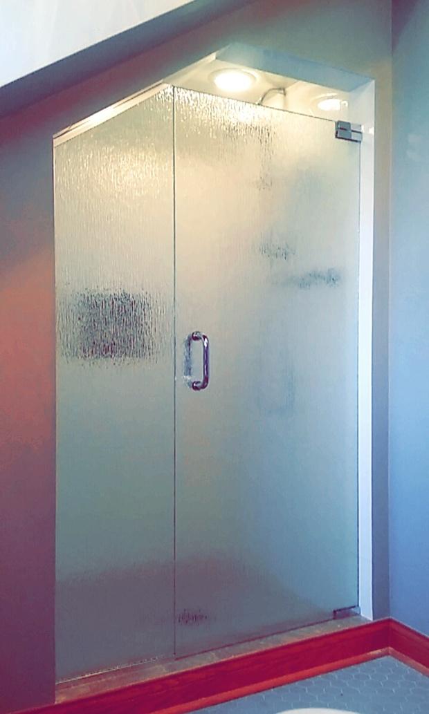 Modern Bathroom In Chicago Textured Glass Shower Door Grey Hexagon Tile Flooring By