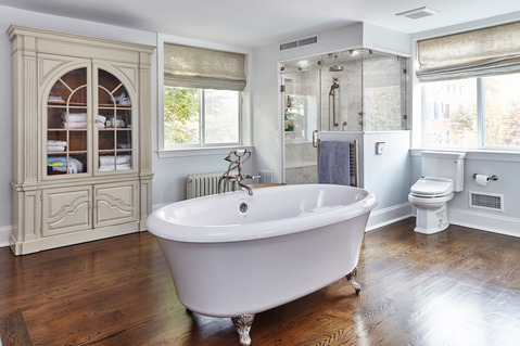 Eclectic Bathroom with built in bench seat in shower
