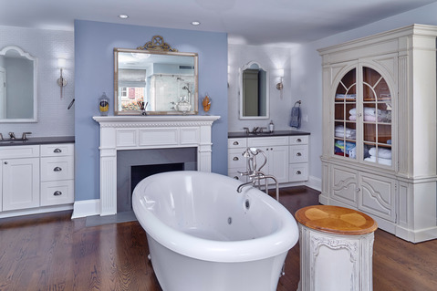 Eclectic Bathroom with white recessed panel cabinets