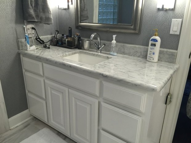 Transitional Bathroom In San Antonio Framed Vanity Mirror Faux Marble Solid Surface Counter