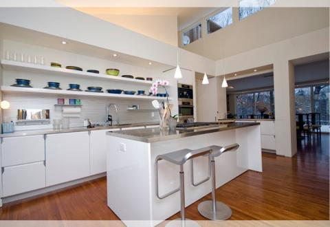 Modern Kitchen with odd white frame top bottom of pic