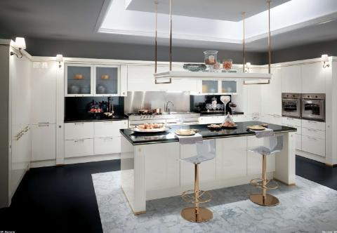 Contemporary Kitchen with lucite and gold plate bar stools