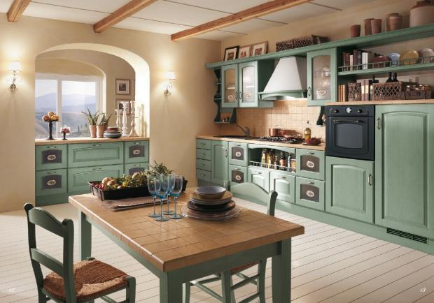 Transitional Kitchen with jade colored wall mounted shelves