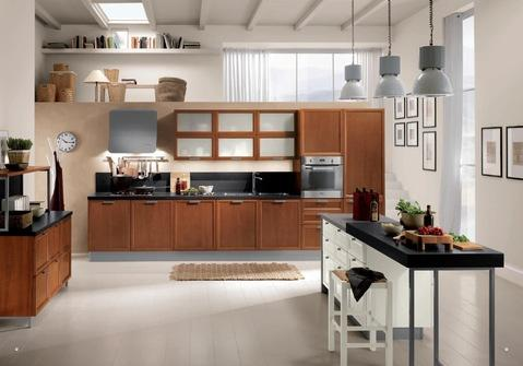 Modern Kitchen with kitchen wall is not attached to the ceiling