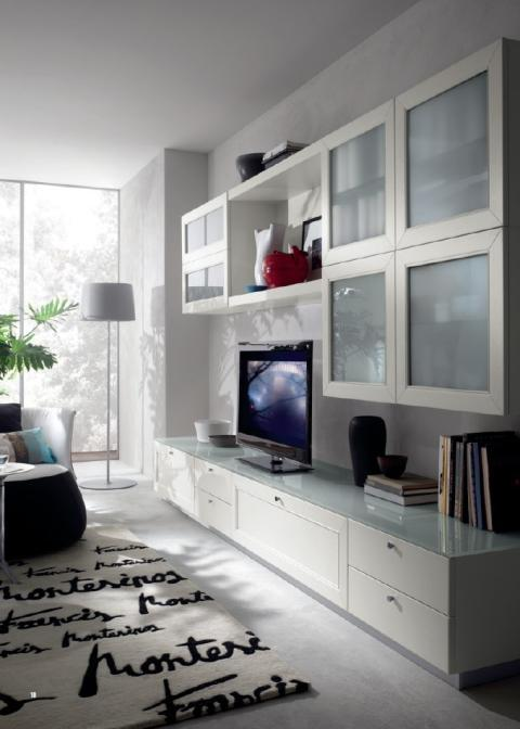Modern Family Room with frosted glass front cabinets