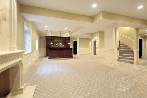 Traditional Basement with wainscoting and trim detail