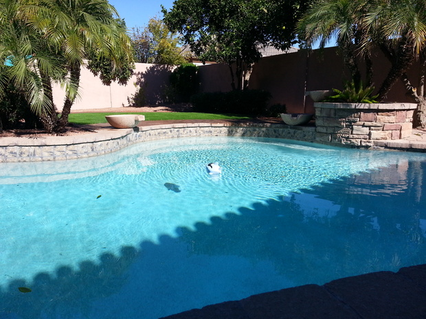 Casual Living Pools : Casual / Comfortable Pool in Phoenix - brick wall, in ...