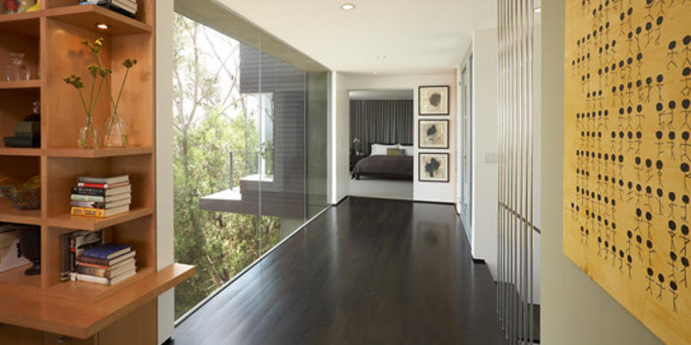 Contemporary Hallway with floor to ceiling window
