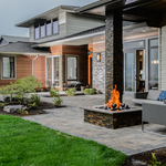Contemporary Patio with stacked stone tile pillars