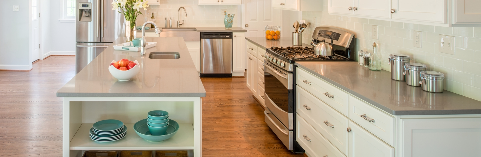 Transitional Kitchen with high arc kitchen faucet with pull out sprayer