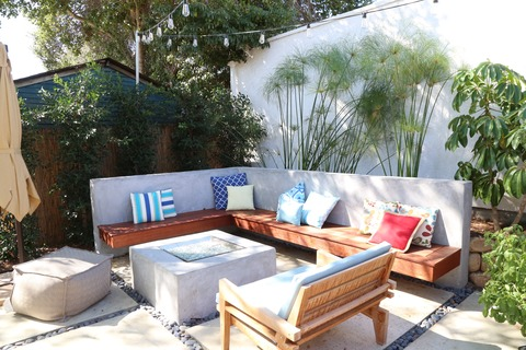 Contemporary Patio with cement and wood bench seating