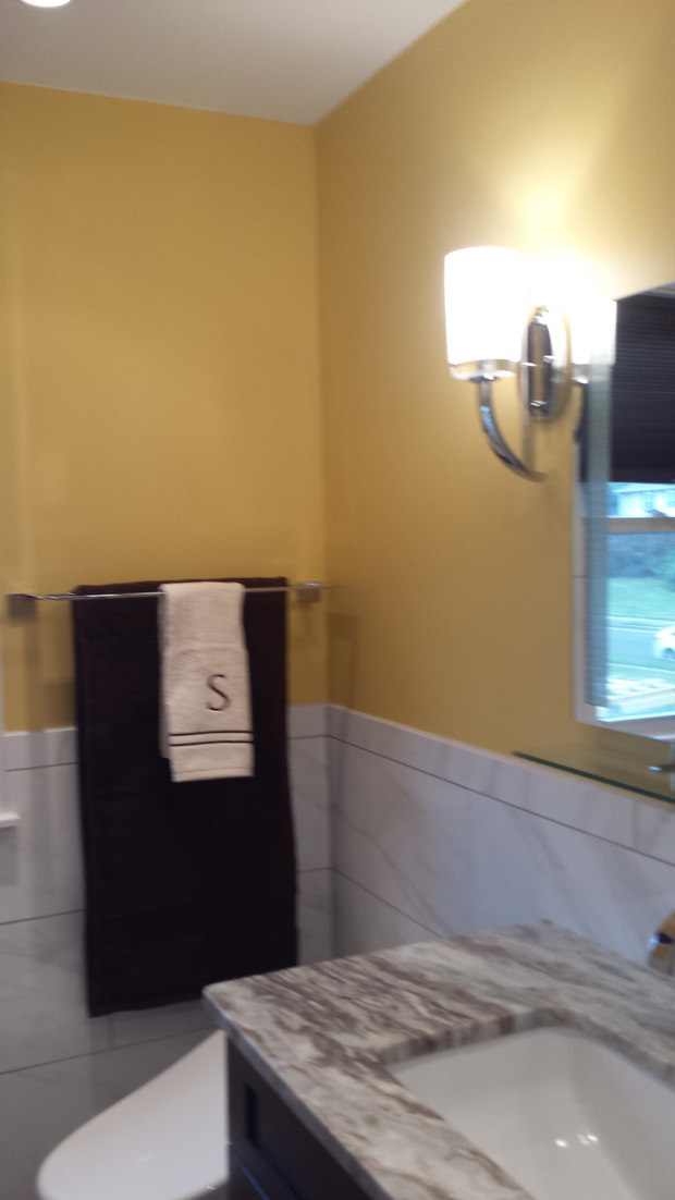 Transitional Bathroom In Southampton Yellow Walls Wall Sconce Vanity Light By Tony Chima Inc