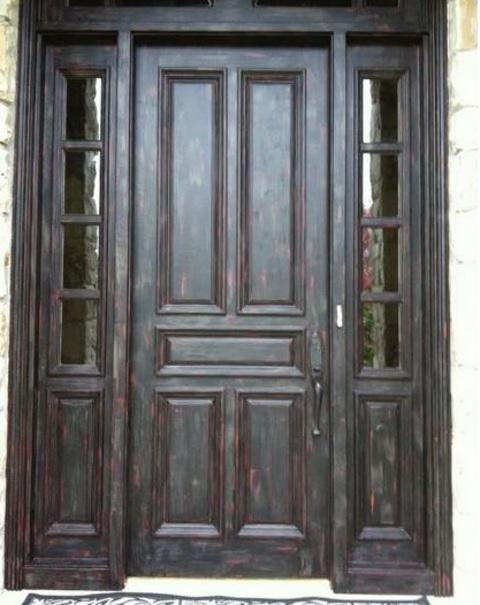 Traditional Entry with black antiqued finish with bronze undertones